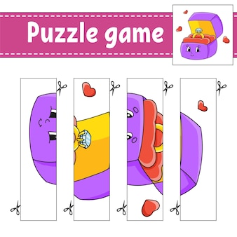 Gioco di puzzle per bambini. pratica di taglio. foglio di lavoro per lo sviluppo dell'istruzione.