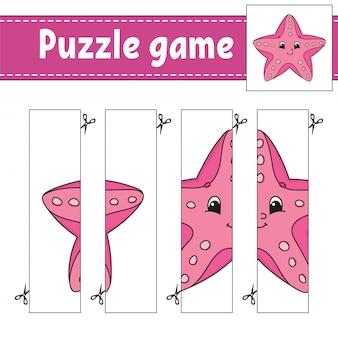 Gioco di puzzle per bambini. pratica di taglio. stella marina di mare.