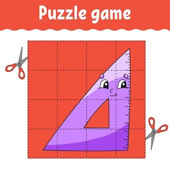 Gioco di puzzle per bambini. foglio di lavoro per lo sviluppo dell'istruzione. di nuovo a scuola. pagina delle attività a colori.
