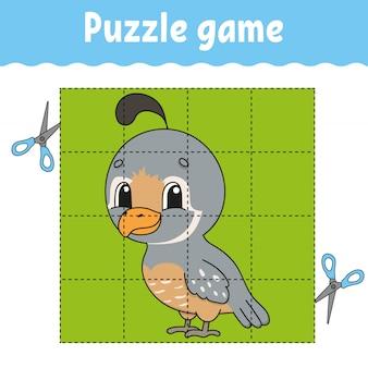Gioco di puzzle per bambini. foglio di lavoro per lo sviluppo dell'istruzione. gioco di apprendimento per bambini.