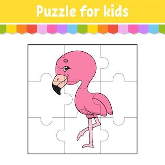 Gioco di puzzle per bambini. fenicottero rosa. foglio di lavoro per l'istruzione. pagina attività colore