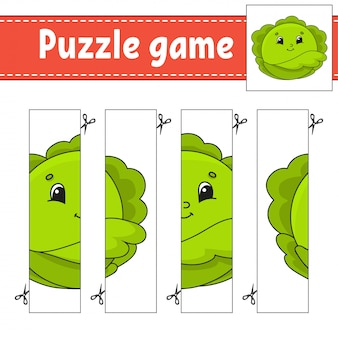 Gioco di puzzle per bambini. cavolo vegetale pratica di taglio.