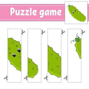 Gioco di puzzle per bambini. cetriolo vegetale pratica di taglio.