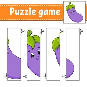 Gioco di puzzle per bambini. melanzane vegetali. pratica di taglio.