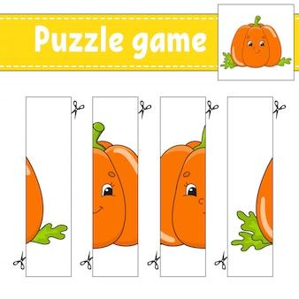 Gioco di puzzle per bambini. zucca vegetale. pratica di taglio.