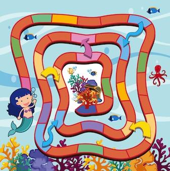 Modello di gioco di puzzle con sirena e tesoro