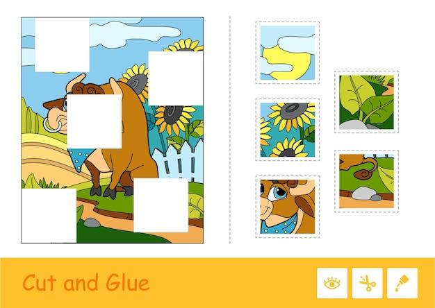 Gioco di puzzle per bambini piccoli con simpatico toro al pascolo vicino al cortile e puzzle mancanti.
