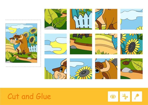 Gioco di puzzle per bambini piccoli con l'immagine di un simpatico toro al pascolo vicino al cortile.