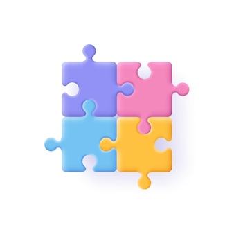 Puzzle, puzzle, concetto di dati incompleti. icona di pezzi di puzzle. illustrazione 3d.