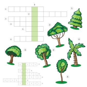 Foglio attività puzzle per bambini - cruciverba con alberi - gioco educativo, cruciverba per bambini. imparare il vocabolario