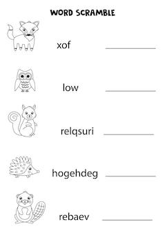 Puzzle per bambini. scramble di parole per i bambini. animali del bosco in bianco e nero.