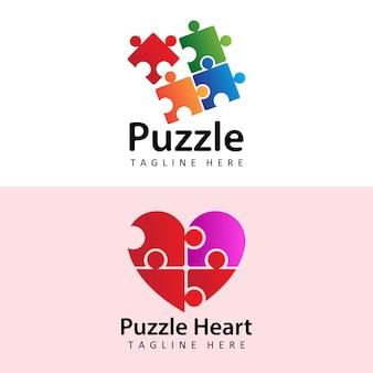 Modello di logo del puzzle