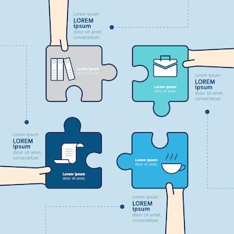 Pezzo di puzzle con il concetto infographic di affari del modello della mano