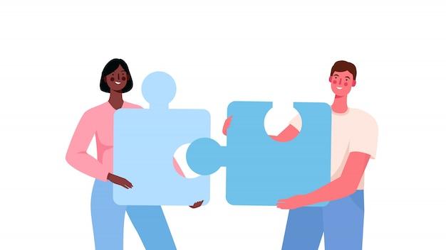 Concetto di relazione puzzle. metafora del team