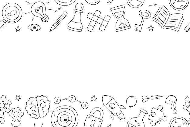 Puzzle e indovinelli. modello orizzontale disegnato a mano con cruciverba, labirinto, cervello, pezzo degli scacchi, lampadina, labirinto, ingranaggio, serratura e chiave.