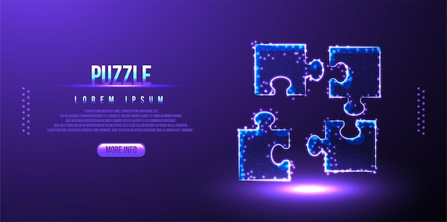 Puzzle, wireframe low poly lavoro di squadra, design poligonale