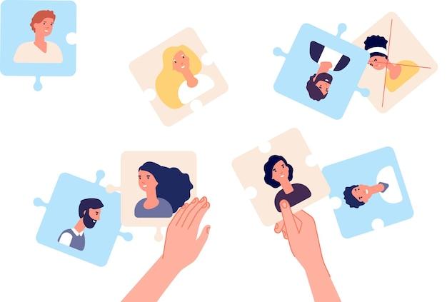 Puzzle con dipendente. leader che fa squadra, responsabile delle risorse umane o metafora di reclutamento. business plan, trovare professionisti. stiamo assumendo il concetto di vettore. squadra di puzzle di affari, illustrazione di cooperazione di lavoro di squadra