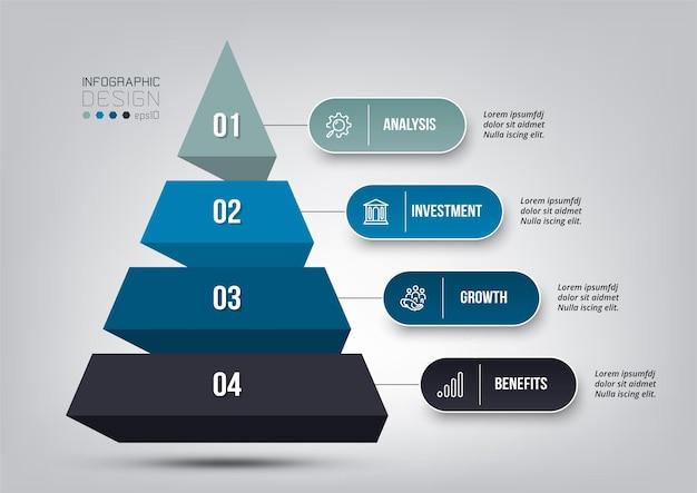 Modello di infografica flusso di lavoro processo di piramide 4 fasi.