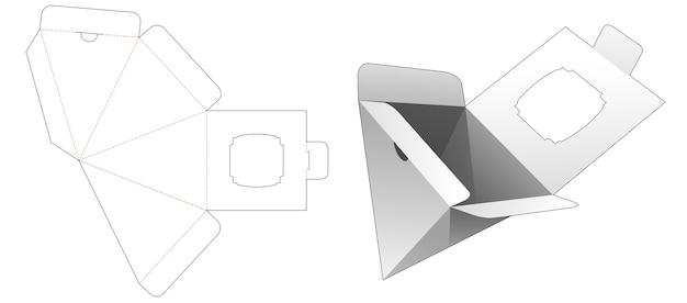 Scatola piramidale con punto aperto inferiore e modello fustellato per vetrina