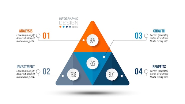 Modello di infografica flusso di lavoro aziendale piramide