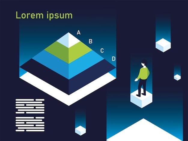 Grafico a piramide infografica con design uomo, informazioni sui dati e illustrazione del tema di analisi