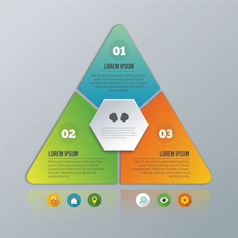 Piramide infografica sullo sfondo grigio