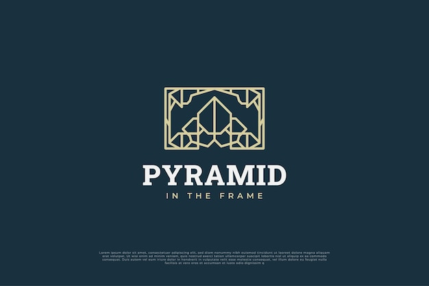 Logo a piramide nel telaio con stile della linea e concetto astratto per la tua identità aziendale