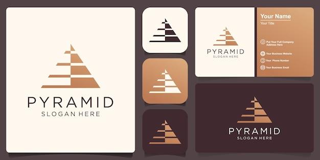 Modello di logo della piramide. simbolo di affari di progresso