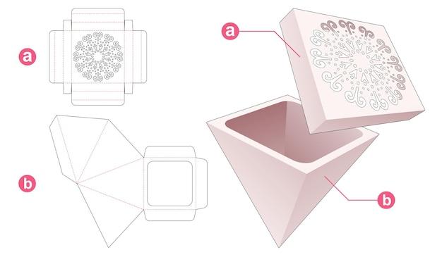 Scatola a forma di piramide con coperchio che ha un modello fustellato a forma di mandala