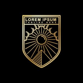 Piramide e design del logo del sole