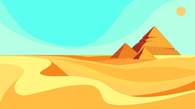 Piramidi nel deserto. bellissimo paesaggio in stile cartone animato.