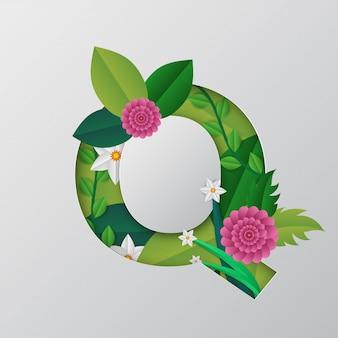 Q alfabeto fatto da fiori e foglie con stile taglio carta.