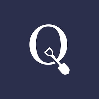 Illustrazione dell'icona di vettore del logo della vanga della pala della lettera di q