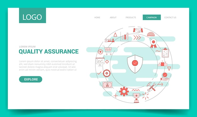 Concetto di garanzia della qualità qa con l'icona del cerchio per il modello di sito web o l'illustrazione vettoriale della homepage della pagina di destinazione