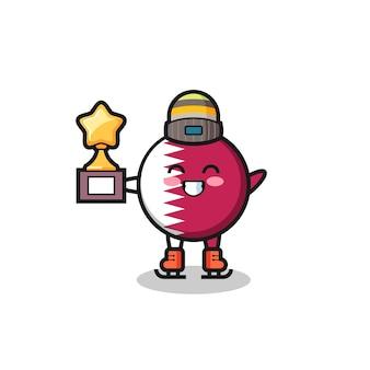 Il fumetto del distintivo della bandiera del qatar come un giocatore di pattinaggio sul ghiaccio tiene il trofeo del vincitore, un design carino in stile per maglietta, adesivo, elemento logo