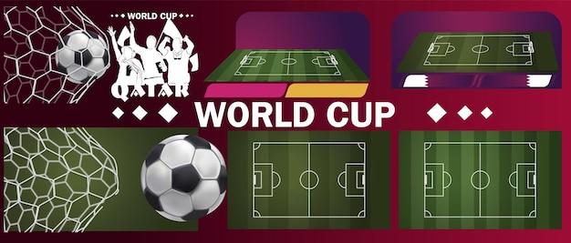 Bandiera del qatar. pallone da calcio in porta. pallone da calcio, campo da calcio in erba verde. coppa di calcio, modello di progettazione di sfondo. banner di sfondo piatto vettoriale. sport di squadra. segno della palla del piede.