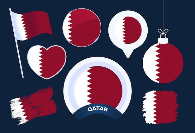 Raccolta di vettore di bandiera del qatar. grande set di elementi di design della bandiera nazionale in diverse forme per le festività pubbliche e nazionali in stile piatto.