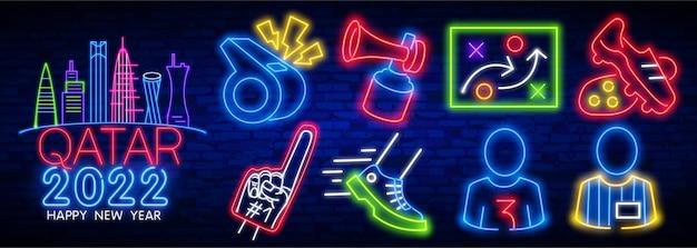Qatar neon icone football club insegna al neon insegna luminosa banner luminoso logo calcio emblema ed etichetta...