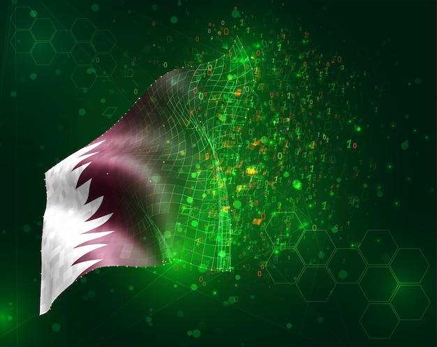 Qatar, bandiera vettoriale 3d su sfondo verde con poligoni e numeri di dati