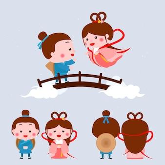 Illustrazione del festival del giorno di qi xi