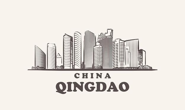 Illustrazione disegnata a mano della cina di schizzo di paesaggio urbano di qingdao