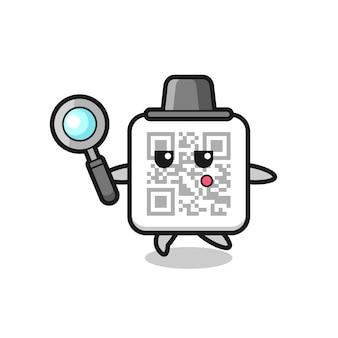 Personaggio dei cartoni animati con codice qr che cerca con una lente di ingrandimento, design carino