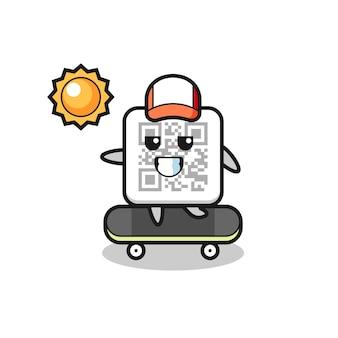 L'illustrazione del personaggio del codice qr cavalca uno skateboard, design carino