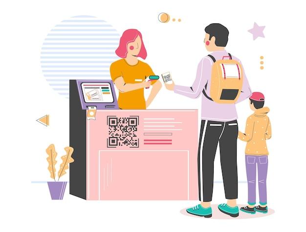 Scansione del check-in del codice qr all'ingresso del cinema illustrazione vettoriale codice qr senza contatto registrazione dei visitatori...