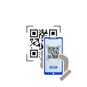 Icona del codice qr sullo schermo dello smartphone. smartphone della tenuta della mano. illustrazione vettoriale.
