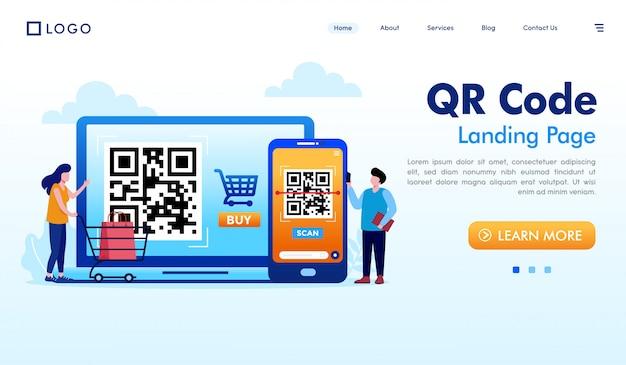 Vettore dell'illustrazione del sito web della pagina di atterraggio di codice qr