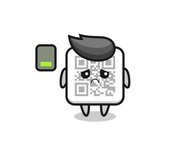 Personaggio mascotte del codice qr che fa un gesto stanco, design carino