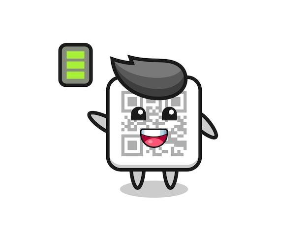 Personaggio mascotte codice qr con gesto energico, design carino