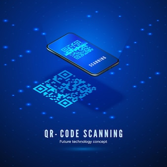 Concetto isometrico di scansione del codice qr. telefono cellulare con scansione del codice a barre digitale sullo schermo.