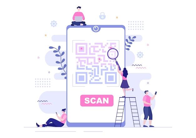 Scanner di codici qr per pagamento online, pagamento elettronico e trasferimento di denaro su smartphone con app in mano. illustrazione vettoriale di sfondo